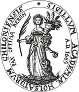 Seal of Kiel University with the university`s maxim: Pay optima rerum