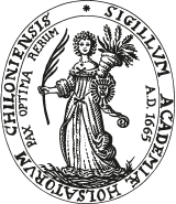 Seal of Kiel University with the university`s maxim: Pay optima rerum